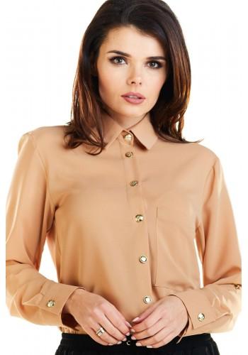 Hnědá klasická košile se zlatými knoflíky pro dámy