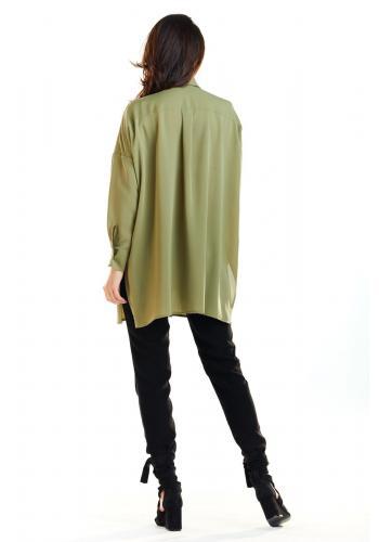 Dámská oversize košile s dlouhým rukávem v khaki barvě