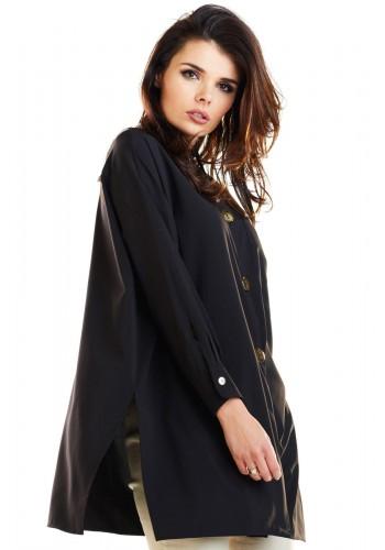 Oversize dámská košile černé barvy s dlouhým rukávem