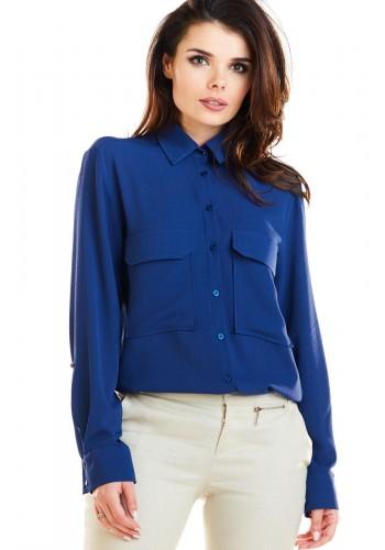 Dámská klasická košile s kapsami na hrudi v tmavě modré barvě