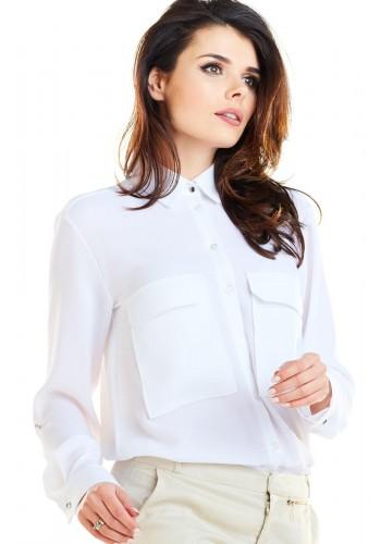 Dámská klasická košile s kapsami na hrudi v bílé barvě