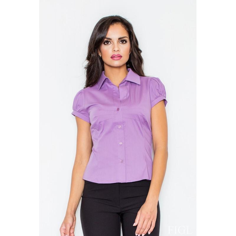 Klasická dámská košile světle fialové barvy s krátkým rukávem