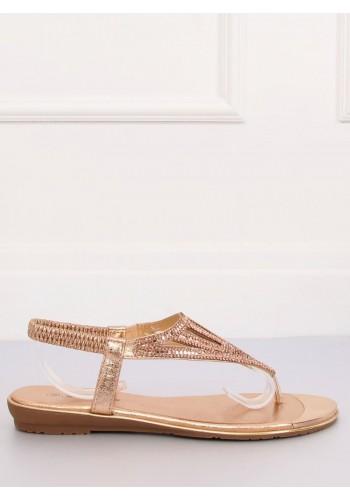 Módní dámské sandály růžové barvy s kamínky
