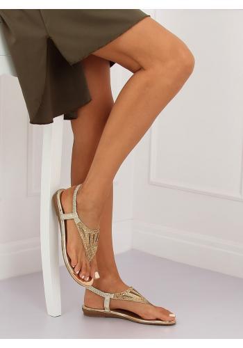 Zlaté módní sandály s kamínky pro dámy