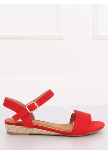 Dámské semišové sandály na nízké platformě v červené barvě