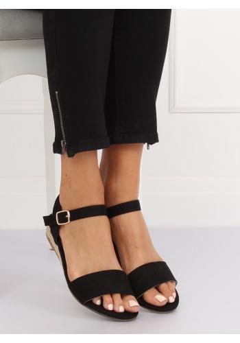 Černé semišové sandály na nízké platformě pro dámy