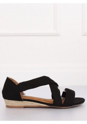 Dámské semišové sandály na nízké platformě v černé barvě