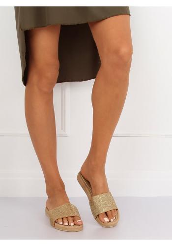 Zlaté třpytivé pantofle pro dámy