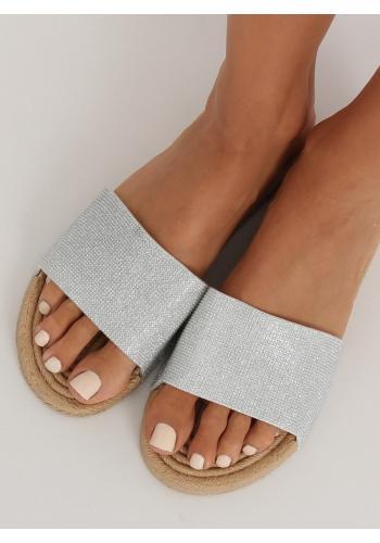 Dámské třpytivé pantofle ve stříbrné barvě
