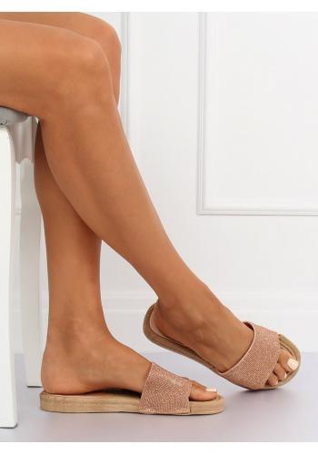 Třpytivé dámské pantofle růžové barvy