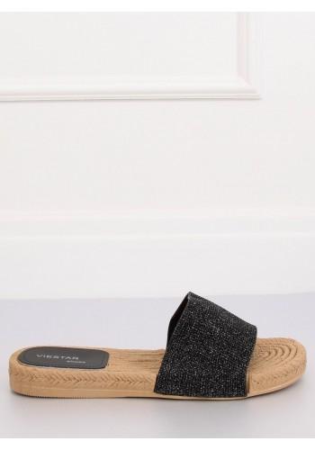 Černé třpytivé pantofle pro dámy