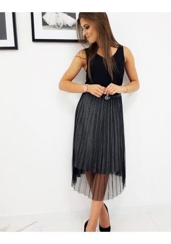 Černá plisovaná sukně s brokátem pro dámy