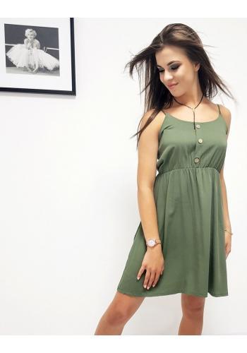 Letní dámské šaty zelené barvy na ramínka