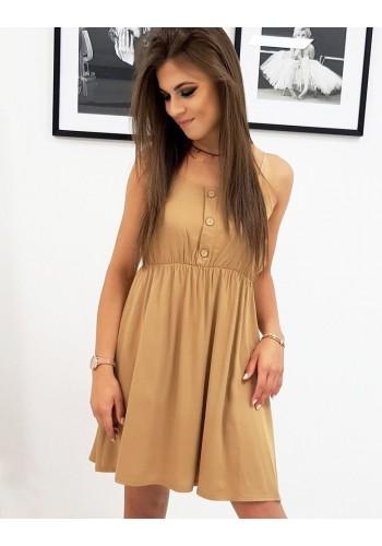 Dámské letní šaty na ramínka v hnědé barvě