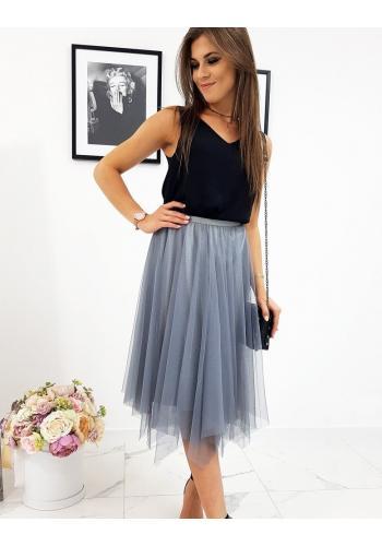 Šedá dvouvrstvá sukně s brokátem pro dámy