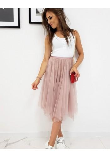 Dvouvrstvá dámská sukně růžové barvy s brokátem