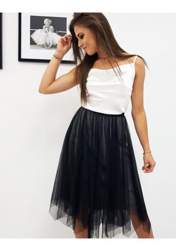 Dámská dvouvrstvá sukně s brokátem v černé barvě