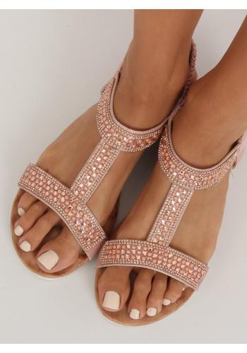 Zdobené dámské sandály růžové barvy
