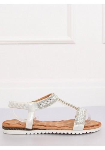 Stříbrné zdobené sandály pro dámy