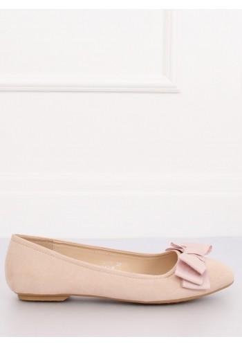 Semišové dámské balerínky béžové barvy s mašlí