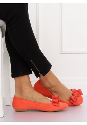 Dámské semišové balerínky s mašlí v oranžové barvě