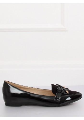 Elegantní dámské mokasíny černé barvy s mašlí