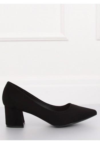 Černé semišové lodičky na širokém podpatku pro dámy