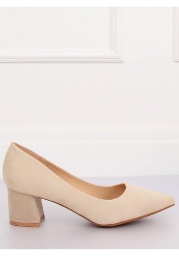 Semišové dámské lodičky béžové barvy na širokém podpatku