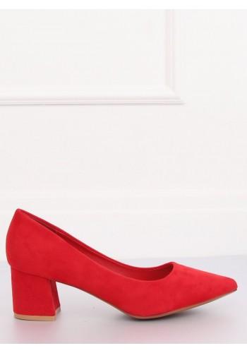 Dámské semišové lodičky na širokém podpatku v červené barvě