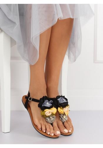 Dámské semišové sandály s květy v černé barvě
