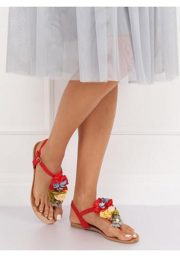 Semišové dámské sandály červené barvy s květinami