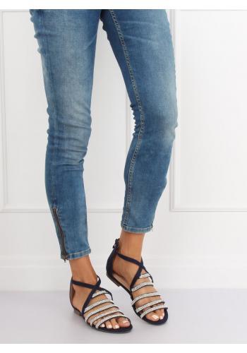 Tmavě modré módní sandály se zirkony pro dámy