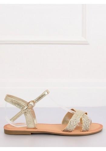 Dámské módní sandály ve zlaté barvě