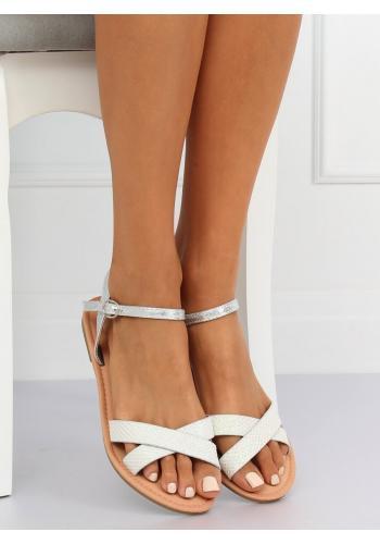 Módní dámské sandály stříbrné barvy