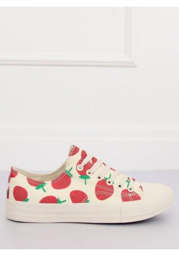 Béžové plátěné tenisky s motivem jahod pro dámy