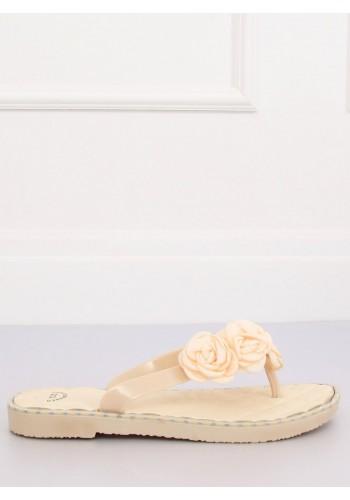Béžové gumové žabky s květinami pro dámy