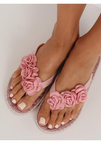 Gumové dámské žabky růžové barvy s květinami