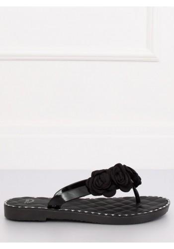 Dámské gumové žabky s květinami v černé barvě