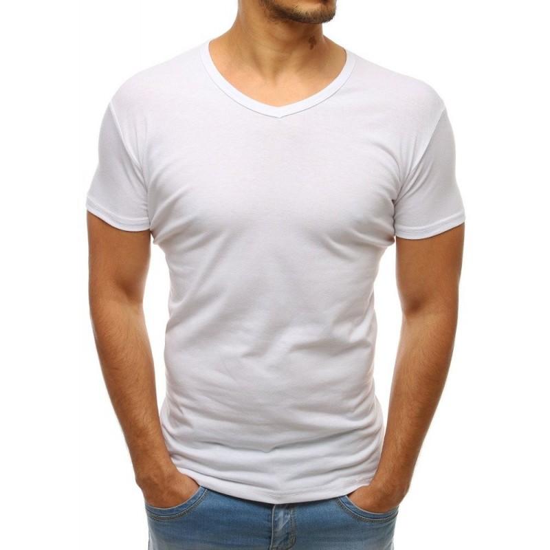 Klasické pánské trička v bílé barvě s výstřihem ve tvaru V
