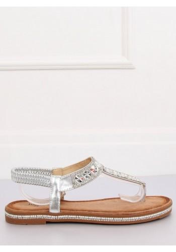 Stylové dámské sandály stříbrné barvy s kamínky
