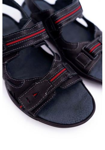 Kožené pánské sandály černé barvy