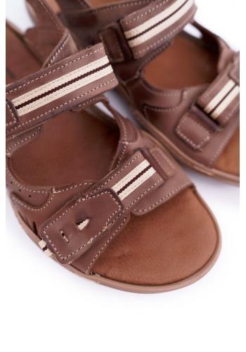 Pánské kožené sandály v hnědé barvě