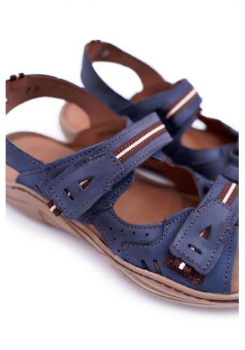 Tmavě modré kožené sandály pro pány