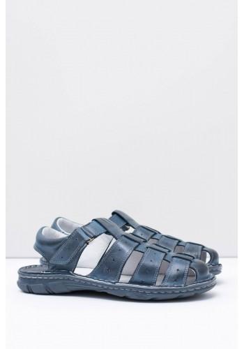 Kožené pánské sandály tmavě modré barvy se zakrytými prsty