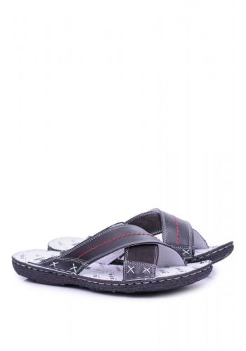 Pánské kožené pantofle v černé barvě