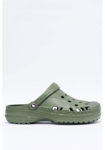 Módní pánské pantofle kroksy zelené barvy k bazénu