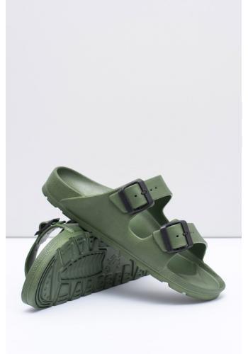 Lehké pánské pantofle olivové barvy s regulovatelnými pásy