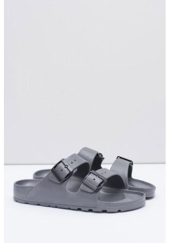 Pánské lehké pantofle s regulovatelnými pásy v šedé barvě