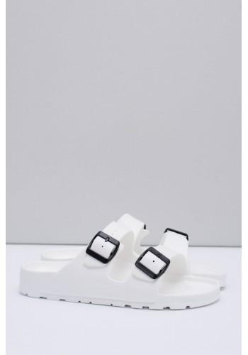 Bílé lehké pantofle s regulovatelnými pásy pro pány