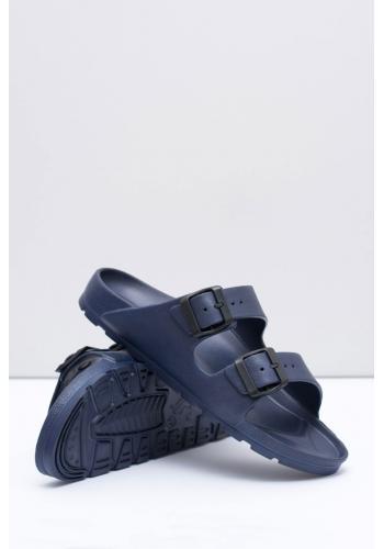 Lehké pánské pantofle tmavě modré barvy s regulovatelnými pásy